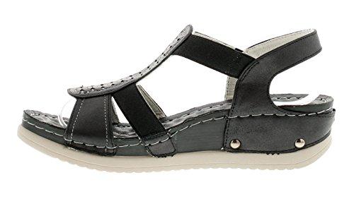 Keilabsatz Damen Miranda UK mit Schwarz 3 Schwarz Sandalen Größen Gluv 8 IOPqCwI