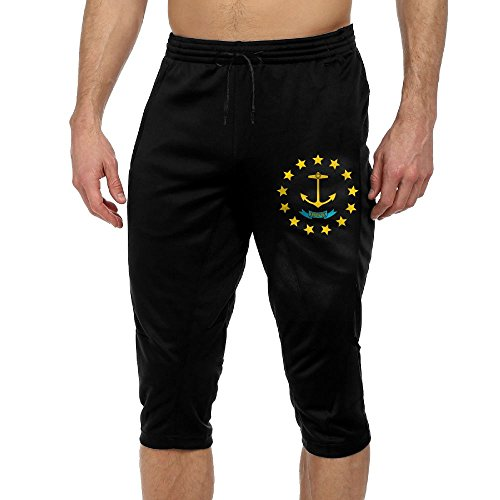 Custom Mens Crop Sweatpants Rhodes Island State Flag Cropped Trousers Black ()