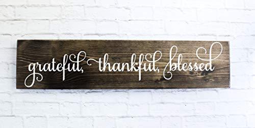 Dark Walnut Cursive Grateful Thankful Blessed Wooden Sign Rustic Handmade Decor - (Rustic Sign Wooden)