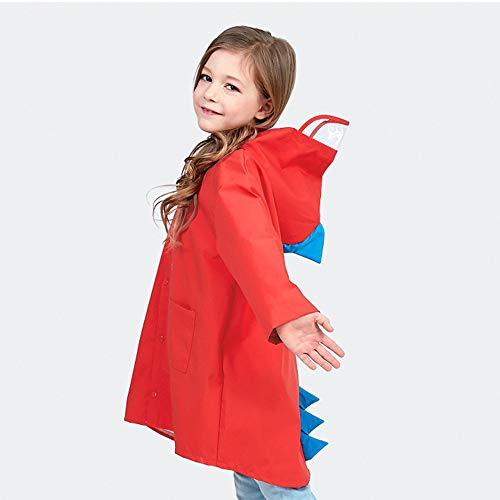 SSAWcasa Rain Poncho for Kids with Hood,Children Dinosaur Raincoat,Portable Reusable Toddler Rainwear with Storage Pouch,Lightweight Waterproof Rain Coat,Jacket for Baby Boys and Girls (L, Red) by SSAWcasa (Image #1)