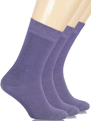 Hugh Ugoli Women's Dress Socks Bamboo Viscose Crew Socks - Aster Purple (Shoe size: 6-9)
