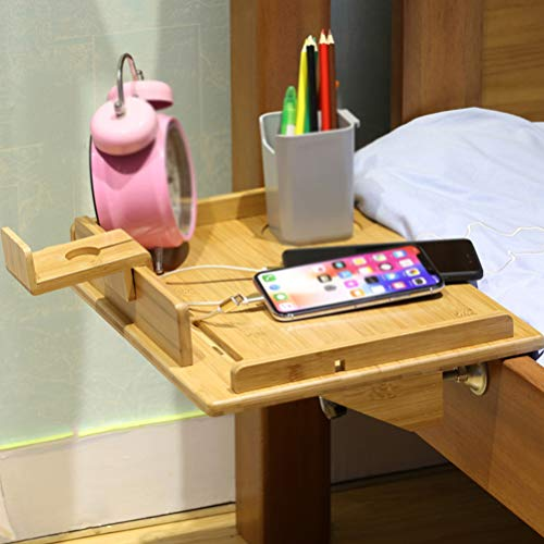 Bedside Shelf for Bunk Bed, Attachable Bed Shelf, Great Use as Kids Nightstand, Dorm Room Bunk Bed Tray for Students, Organizer for Laptop, Phones, Tablet, Remote, Books, Toys, Clock- Natural Bamboo ()