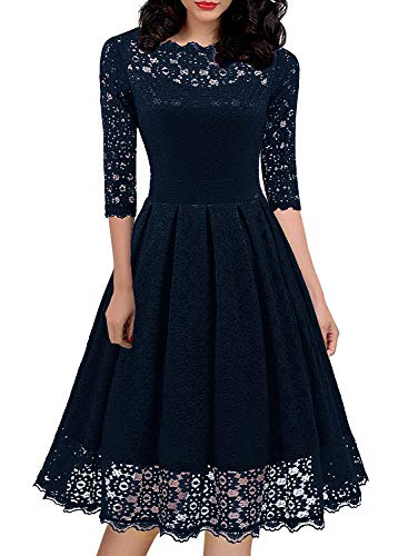 ness Floral Lace Bridesmaid Dresses Cocktail Party Vintage Full Lace Casual Swing A Line Clothes Pulse Size 595 (XXL, Drak Blue) ()