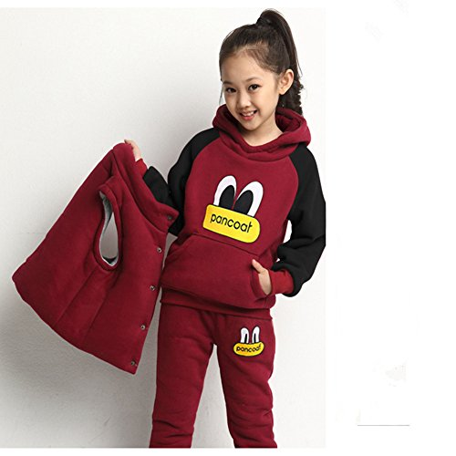 3 Piece Shi Set (Kids Girls Boys Clothing Set Autumn Winter 3-Piece Sets Hooded Coat Suits Fall Cotton Baby Boys Clothes Big Eye Suit (XXL, RED))