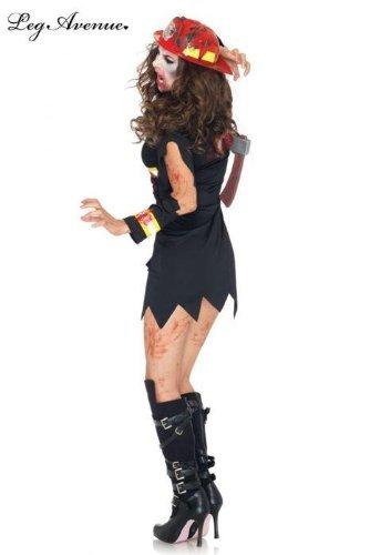 Zombie Firestarter Costumes (Leg Avenue Women's Undead Fire Starter Costume Black Medium/Large)