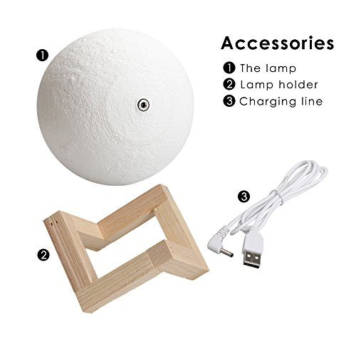 Feitenn 3D Printing Moon LED Lamp Night light Smart Touch Switch Battery Powered USB Charging 2 Modes Lunar Table Lamp with Lamp Holder Stand Kids Room Home Decor Christmas Gift (15 CM)