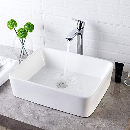 """Lordear 19""""x15"""" Bathroom Sink and Faucet Combo Modern Rectangle Above White Porcelain Ceramic Vessel Vanity Sink Art Basin& Chrome Single Lever Faucet Combo"""