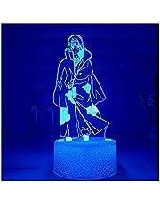 3D Illusie Nachtlampje USB, Nieuwe 3D Nachtlampje Itachi Uchiha Figuur LED Nachtlampje Kleurrijke voor Decoratie Acryl Illusie Licht Gift
