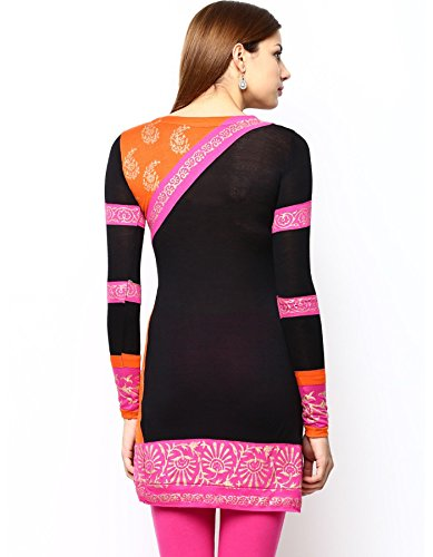 Ira Soleil Womens Ethnic Viscose black pink and orange cut and sew Kurta Kurti Small Black