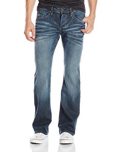 Buffalo David Bitton Men's King Slim Fit Bootcut Jean, Distress Wash, 32 x 30 (Essential Slim Jean)