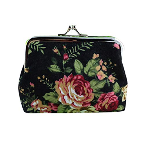 (Womens Canvas Flower Print Fabric Card Holders Wallet Credit Card Holder Large Capacity Purse Metal Frame Kissing Lock Coin Clutch)