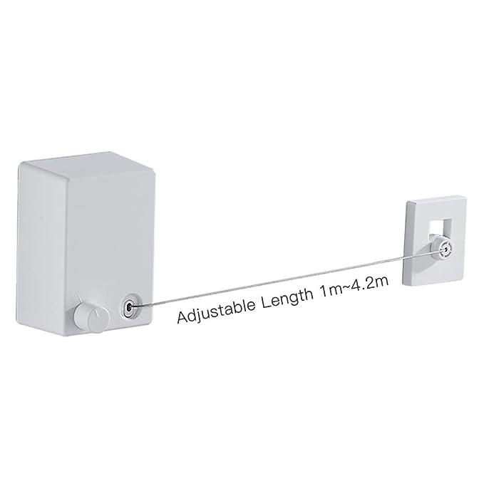 Leepesx Tendedero retr/áctil Cuerda de Ropa Ajustable /Servicio Exterior Resistente Taladro//sin Taladro Caja de ABS con Cuerda de Acero Inoxidable 13.8 pies como m/áximo