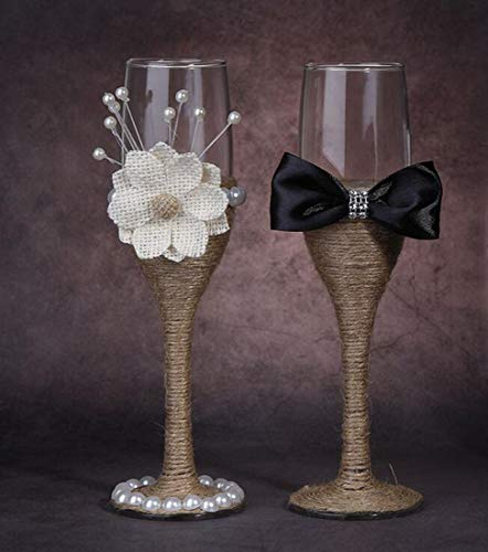 7 Oz Lace Pearl Hemp Rope Decoration Wine Glasses Handmade Bride and Groom Champagne Flutes for Toasting,Wedding Gifts,Wedding Favors,Couples Gifts,Wedding - Toasting Flutes Pearl Heart