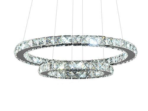 Lustre Candelabro Pendente Circular De Cristal 2 Anéis - TUTTO HOME