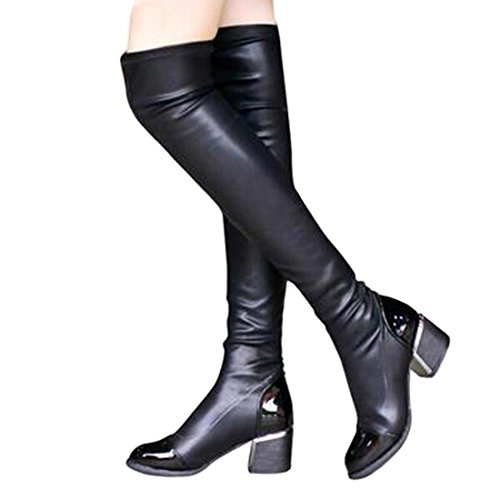 Sequined Knee High Boot (Women's Over Knee High Block Chunky Heel Thigh Heel Slim PU Leather Boots Shoes (8.5, BLACK))