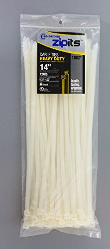 Cambridge Zipits Cable Ties 14'' 120 Lbs 100 Pcs, Heavy Duty, Natural by Cambridge