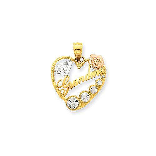 FB Jewels 14K Yellow & Rose Gold W/Rhodium #1 Grandma Heart ()