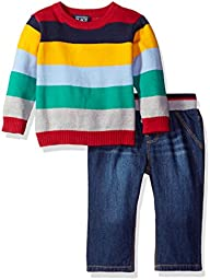 The Children\'s Place Boys\' Pullover Stripe Sweater Set, Blue, 3-6MONTHS