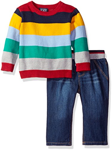 The Children's Place Boys' Pullover Stripe Sweater Set, Blue, 3-6MONTHS
