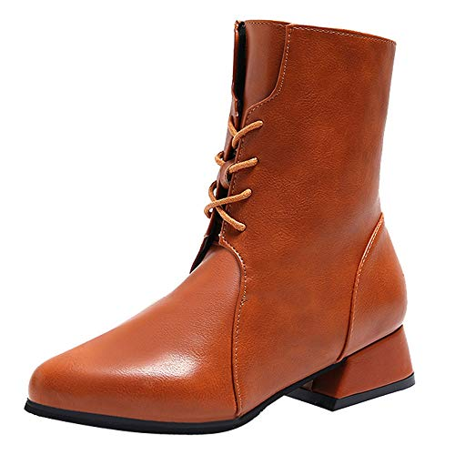 Women Round Toe Leather Shoes Flat Booties Lace Up Leather Boot Zipper Shoes Morecome