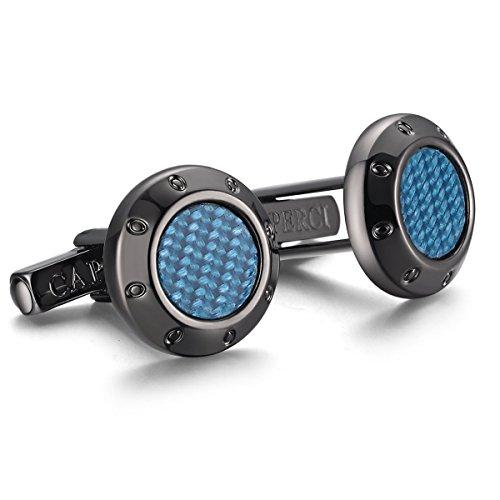 Caperci Contemporary Round Blue Carbon Fiber Black Cufflinks for Men Blue Round Cufflinks