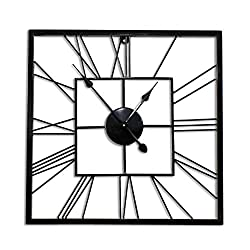 Decorlives 20 inch Black Finish Square Shape Metal Silent Wall Clock Home Decor