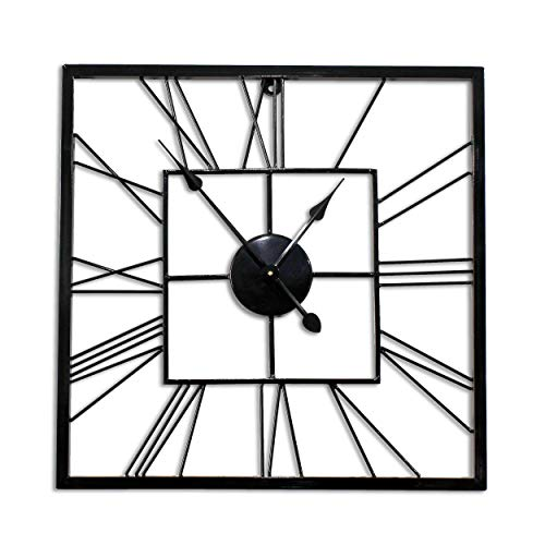 Decorlives 20 inch Black Finish Square Shape Metal Silent Wall Clock Home ()