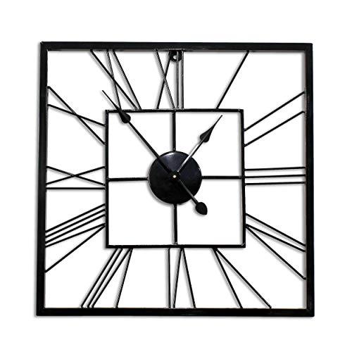 (Decorlives 20 inch Black Finish Square Shape Metal Silent Wall Clock Home Decor)