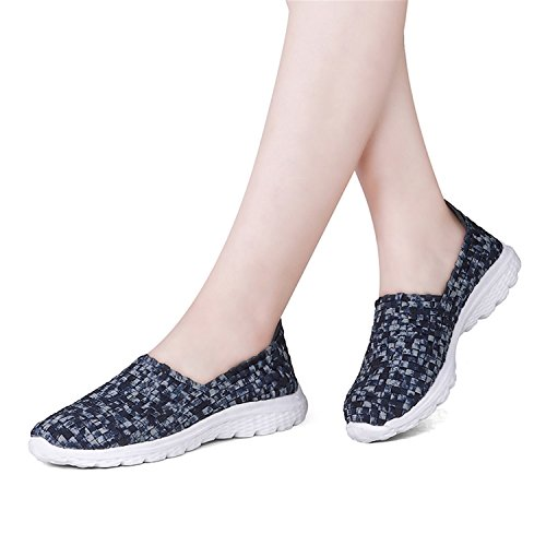 Flat Kenavinca Slip Red Shoes On Woman Elastic Women Woven Blue Shoes Handmade Rosy Breathable Woven Gingham 2018 Summer fwxqrfR