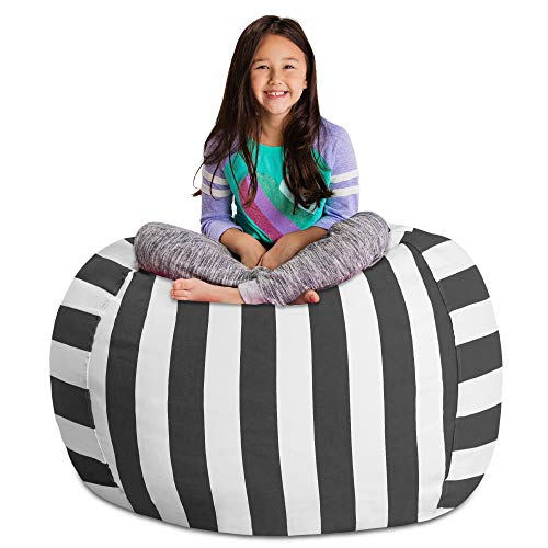 Posh Stuffable AMZST-BXL-CAN-STGra Kids Stuffed Animal Storage Bean Bag Chair Cover - Childrens Toy Organizer, X-Large-48in, Canvas Stripes Gray and White