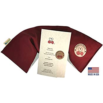 KOYA Naturals Neck Heating Pad Microwavable - Cherry Pit/Stone/Seed Pillow Heat Pack for Neck, Muscles, Joints, Stomach Pain, Menstrual Cramps - Warm Compress Wrap - Moist Heat Therapy (Henna Red)