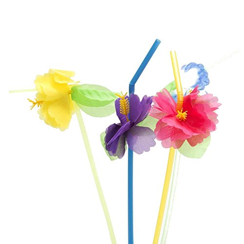 Hibiscus Flower Bendable Straws Pack