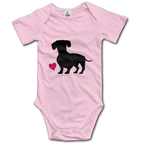 Hanfjj Kefdk Black Wiener Dog and Pink Heart Infant Short-Sleeve Bodysuit Baby Boys Girls
