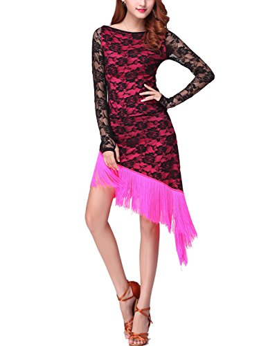 Whitewed Lace Fringe Latin Ballroom Dance Competition Dresses Costumes Pink - Inexpensive Latin Dance Costumes