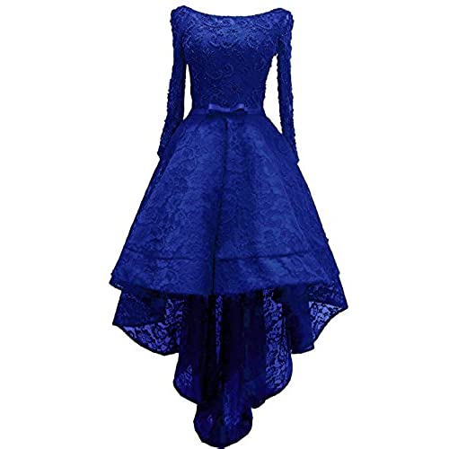 Blue Lace High Low Prom Dress: Amazon.com
