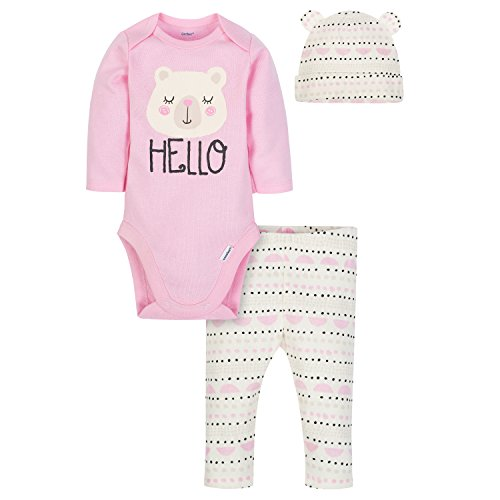 - Gerber Baby Girls' 3-Piece Bodysuit, Pant and Cap Set, Sweet Bear, 6-9 Months