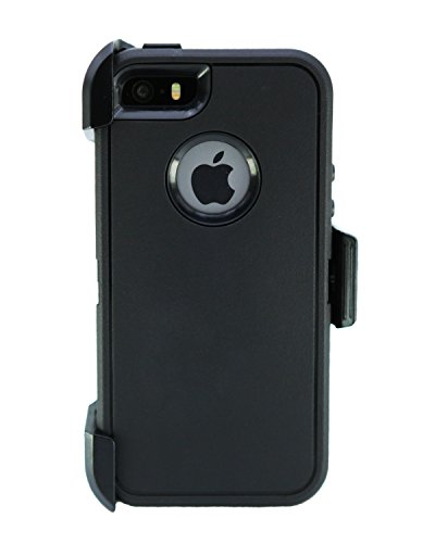 WallSkiN Turtle Series Cases for iPhone 5/5S/5SE (Only) Full Body Protection with Kickstand & Holster - Shadow (Black/Black)