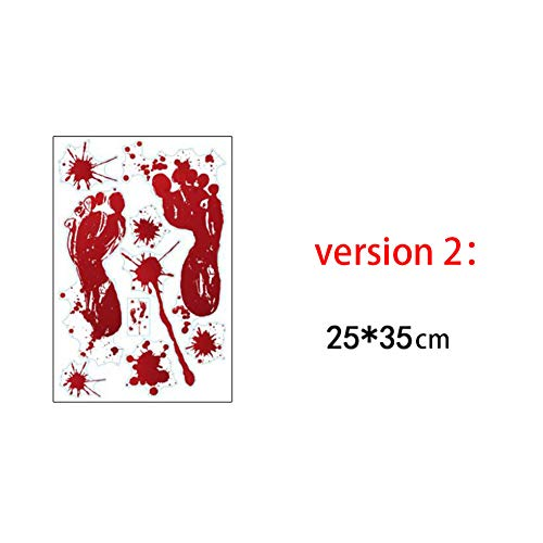 Aoile Halloween Bloody Footprints Handprint Wall Sticker Terror Bloody Window Cabin Door Paster for Decoration Parties,10PCS(Style 2 (2535 cm)) -