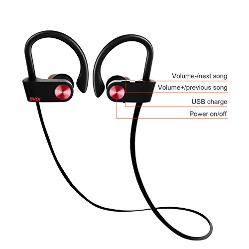U8I sport bluetooth headphone, wireless bluetooth headphone, IPX7 Waterproof, HD Stereo, 8 Hour Battery, Noise Cancelling, Headsets for Gym Running Workout(wine red) by BVOI