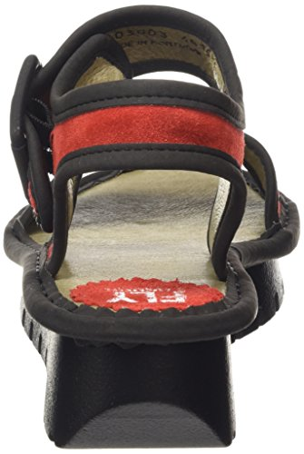 FLY London Kish603Fly - Sandalias con cuña Mujer Rojo - Red (Streetred/Black)