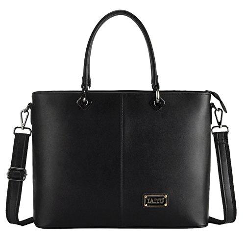 IAITU Laptop Bag Women, Stylish Handbag Tote Bag Fits 15-15.6 Inch Laptop Multi Compartments Work Bag (Black)