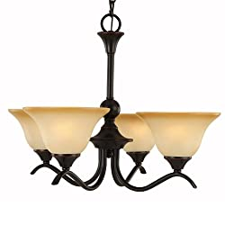 Hardware House Dover Series 4 Light Oil Rubbed Bronze 22 Inch by 16-3/4 Inch Chandelier Ceiling Lighting Fixture : 16-7710