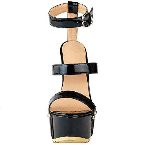 High Schuhe Drei Heel Damen Sommer Strpas Sandalen Frühling Mode Kolnoo Patent Mode UA4qP5x