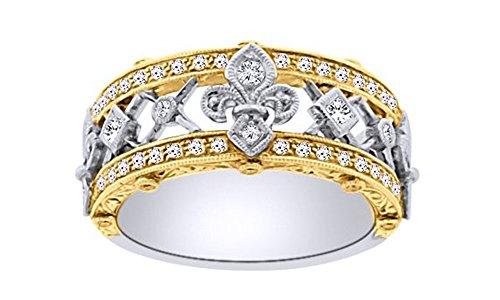 AFFY Round Cut White Natural Diamond Fleur De Lis Ring in 10k Solid Gold (0.5 Cttw)