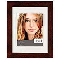 Gallery Solutions 11x14 Walnut Picture Frame with Double White Mat Opening for 8x10 Image, 8 inches x 10 inches,