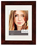 Burnes of Boston 11x14 Picture Frame with Double White Mat Opening for 8x10 Image Flat, Walnut