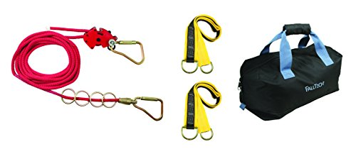 FallTech 777100 4 Person Horizontal Lifeline Kit-Rope, Line Tensioner, 4 O-Rings, 2 Carabiners, 2 Pass-Through Anchors, Storage Bag, 100', Red by FallTech