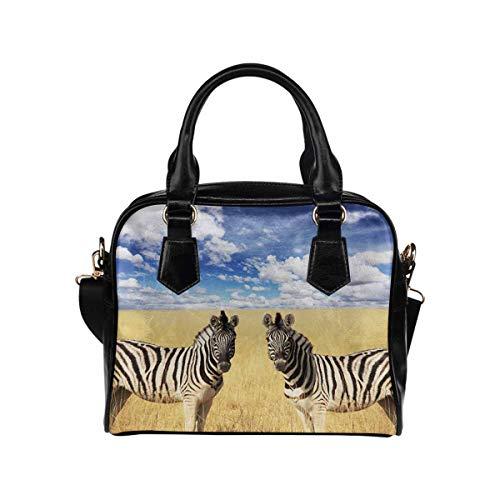 (InterestPrint Zebras Wild Animal Womens Top Handle PU Leather Shoulder Satchel Bag)