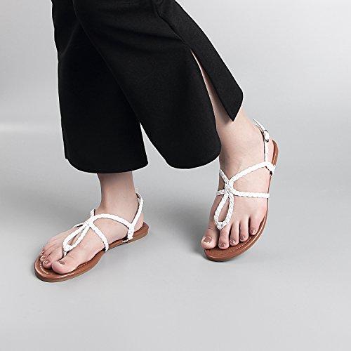 SANDALUP Geflochten Damen Sandalen Weiß