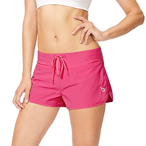 Baleaf Women's Solid Swim Board Short with Built-in Liner Wild Berry Size XS